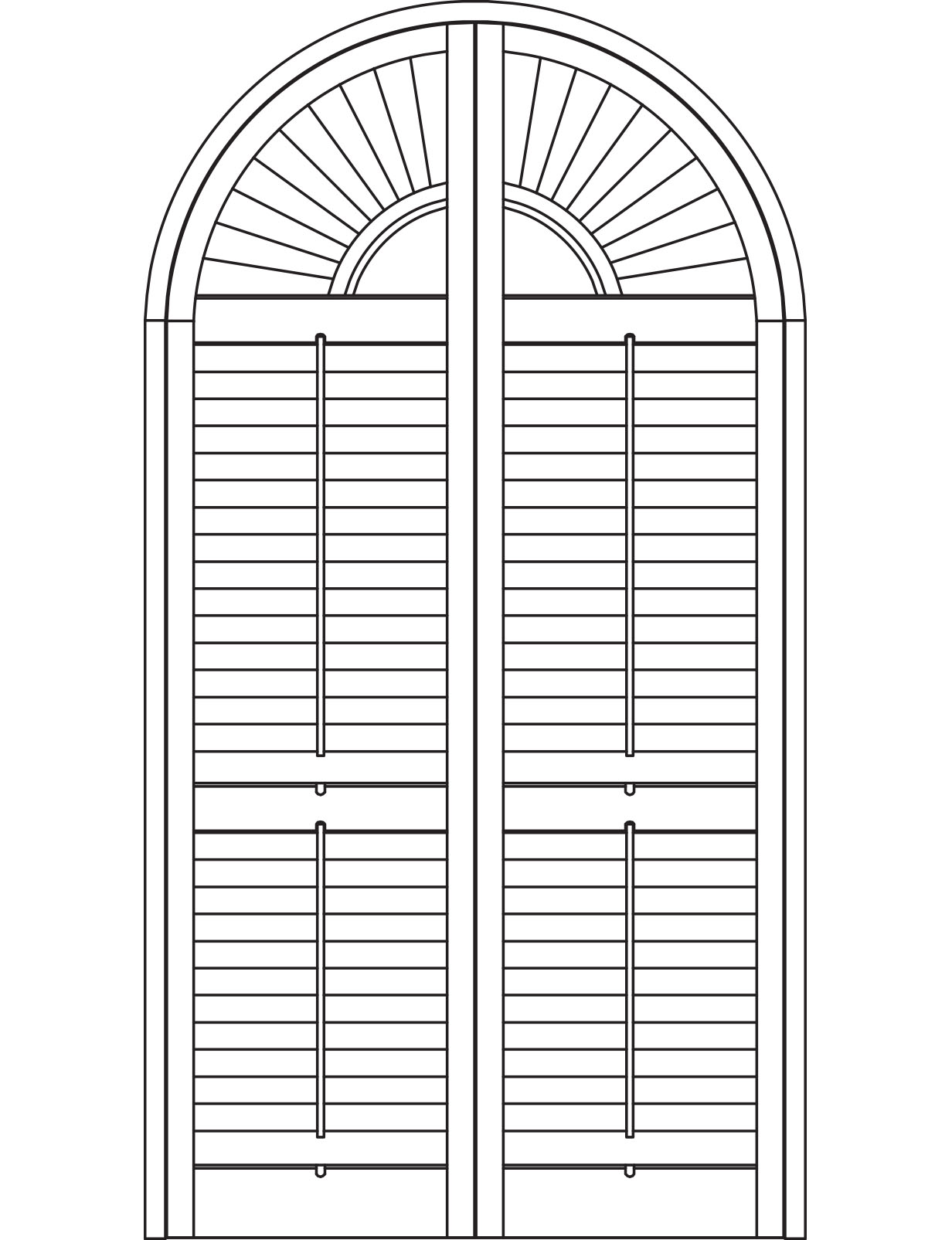 Sunburst half arch shutters