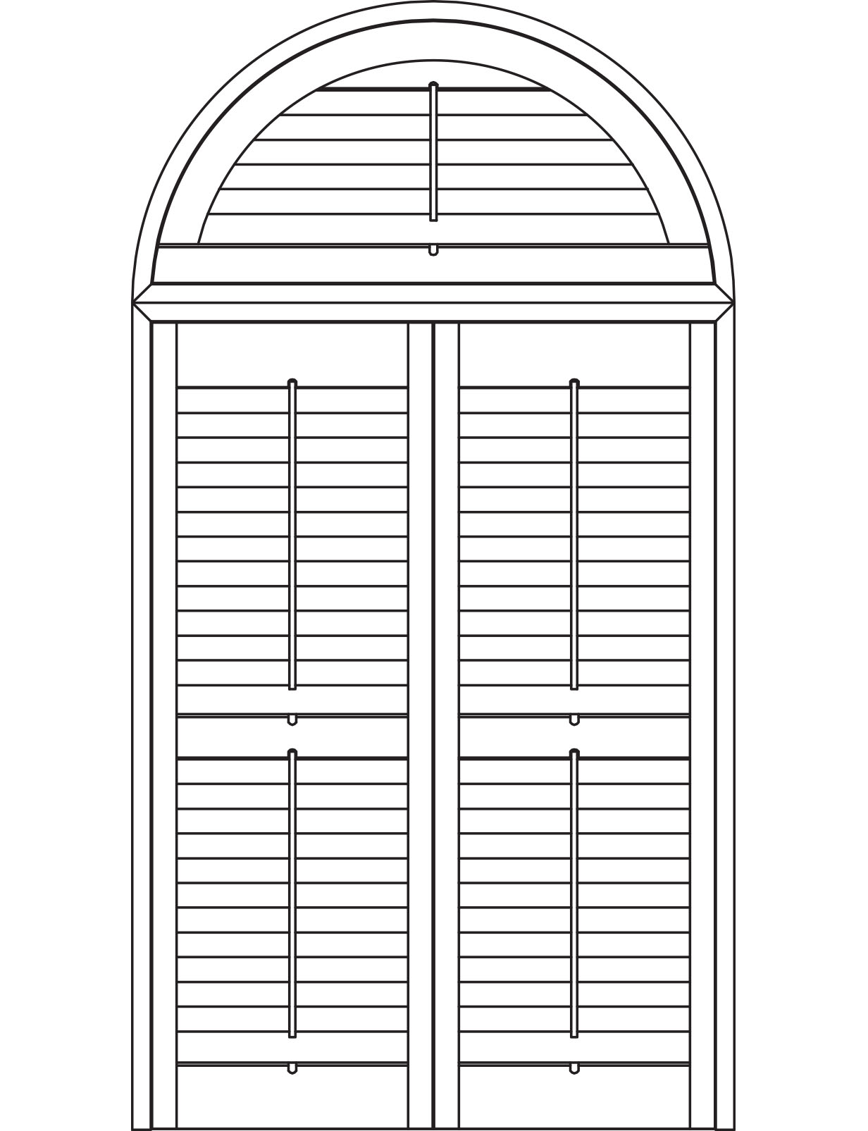 Push rod arched shutters