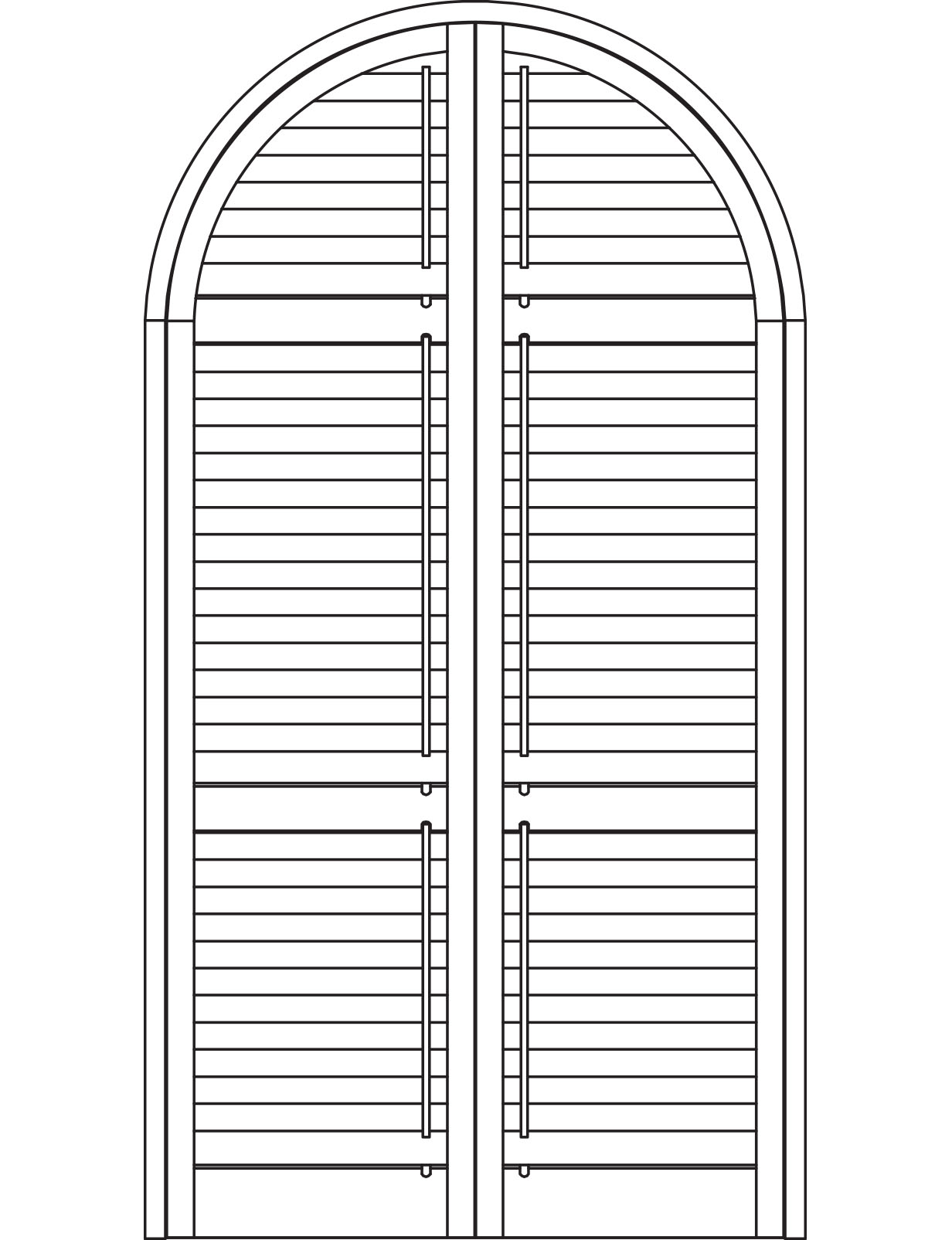 Push rod half arched shutters