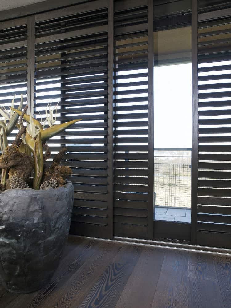 Black Plantation Shutters Black Elm Window Shutters