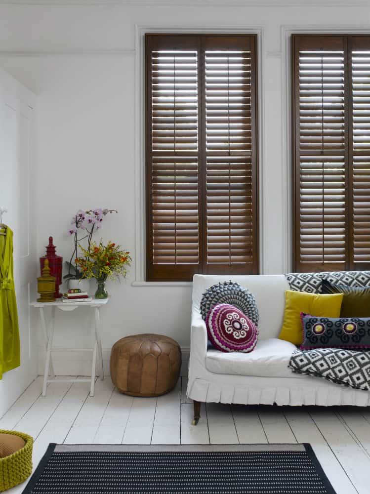 honey oak wood shutters