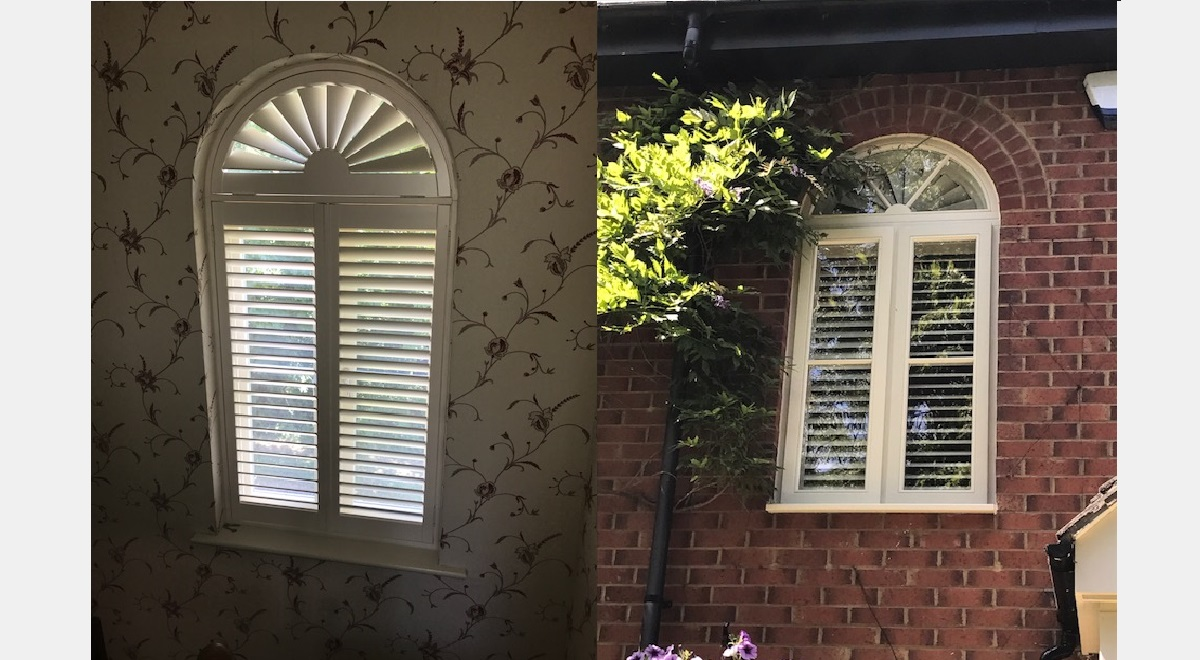 Arched Plantation Shutters inside and outside