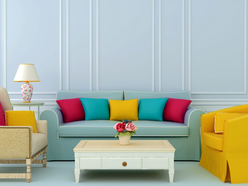 accent pillows on neutral couch