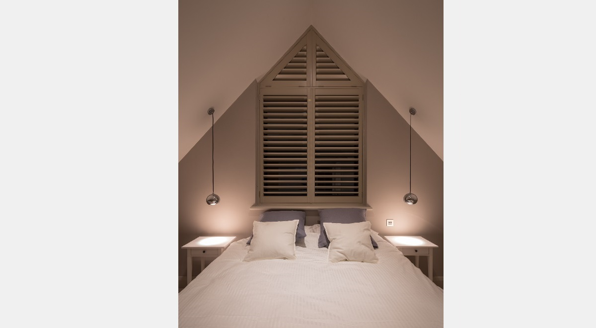 Full Height Wooden Plantation Shutters Triangle