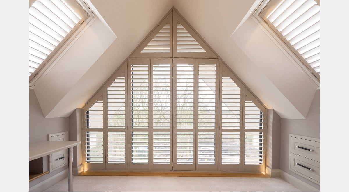 Full Height Wooden Plantation Shutters Triangle and Velux Shutters