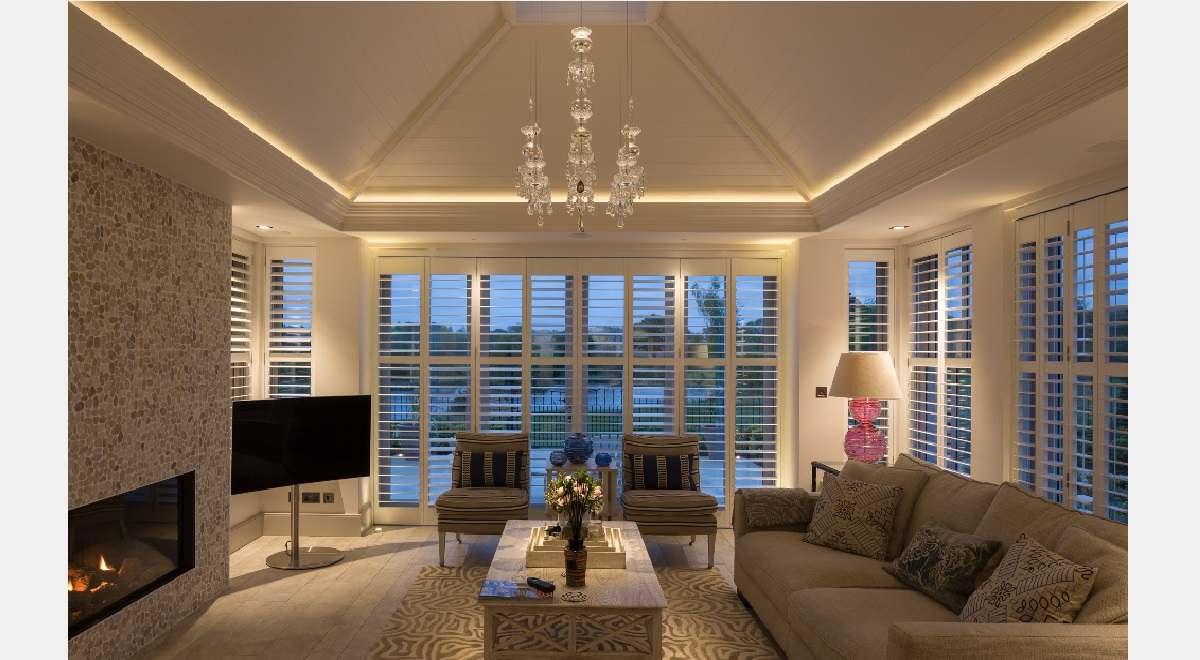 Full Height Tracked Wooden Plantation Shutters Night